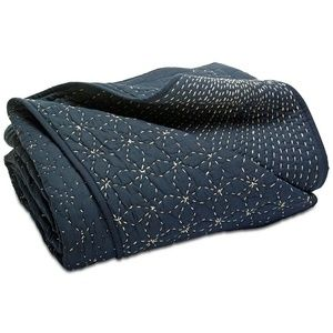 LUCKY BRAND SASHIKO NAVY FULL//QUEEN QUILT STITCHED COTTON